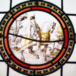 Painted Glass of Man on Horse