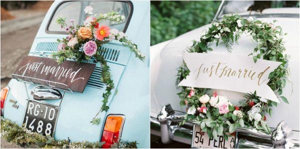 Beautiful Ways to Decorate your Wedding Getaway Car Car 2
