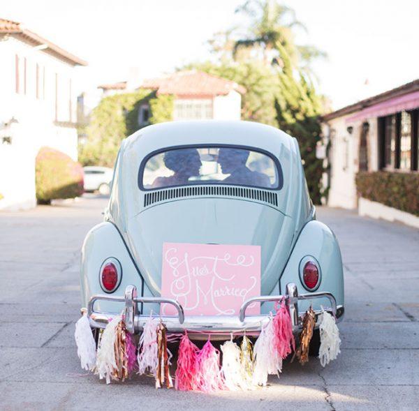 Beautiful Ways to Decorate your Wedding Getaway Car greenweddingshoes.com - pilarreflections.com
