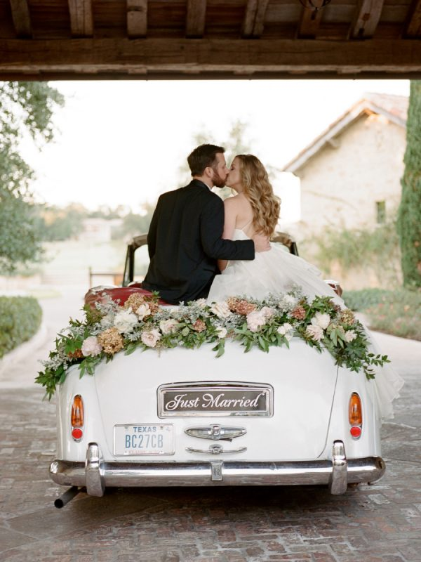 Beautiful Ways to Decorate your Wedding Getaway Car stylemepretty.com - davywhitener.com