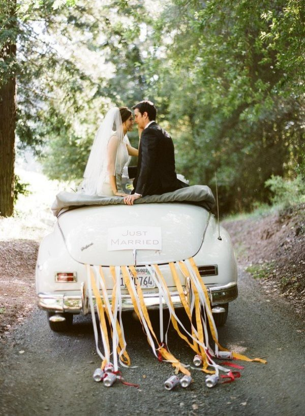 Beautiful Ways to Decorate your Wedding Getaway Car stylemepretty.com - punambean.com
